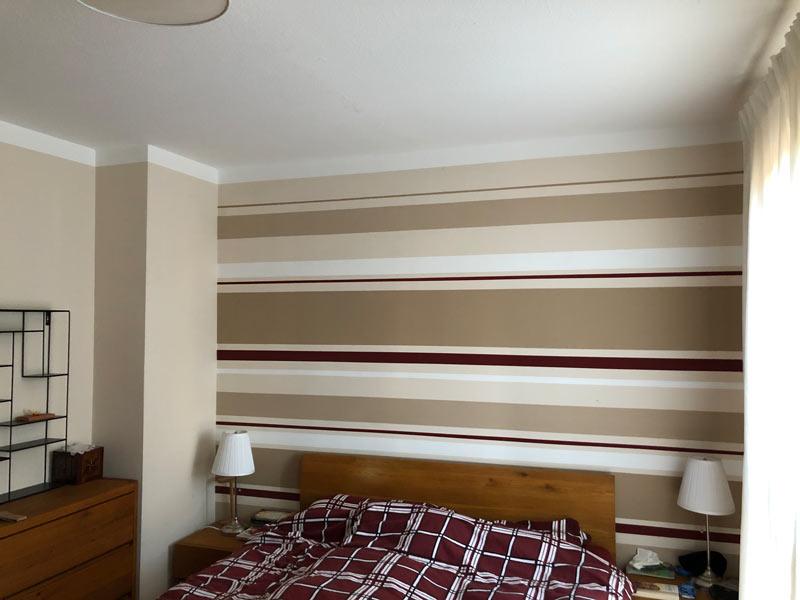 Schlafzimmer Streifen braun