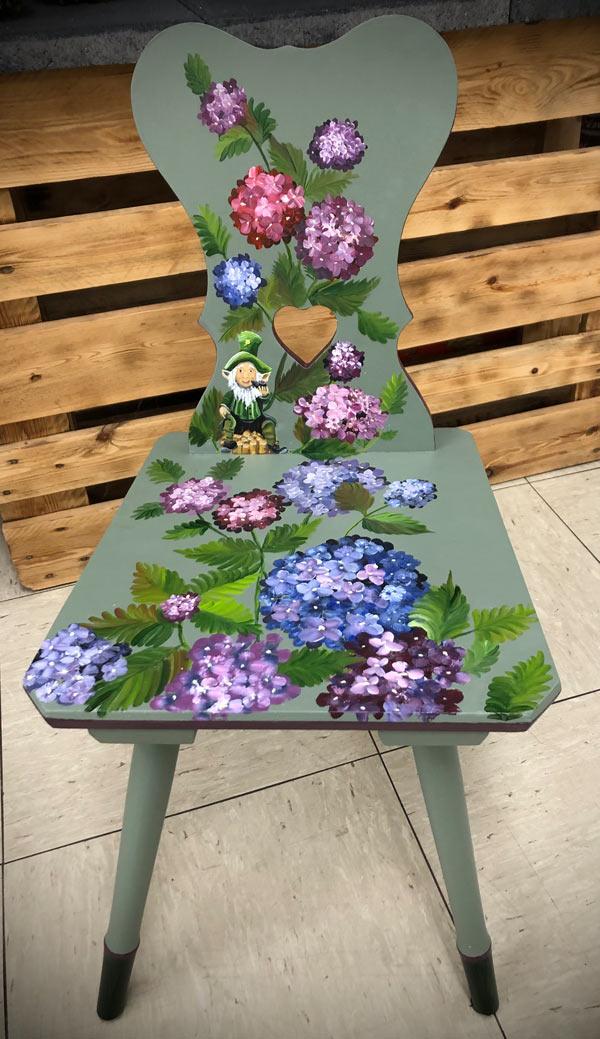 Stuhl grün Blumen